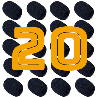 Headset Microphone Windscreen / Puffskydd 20-Pack